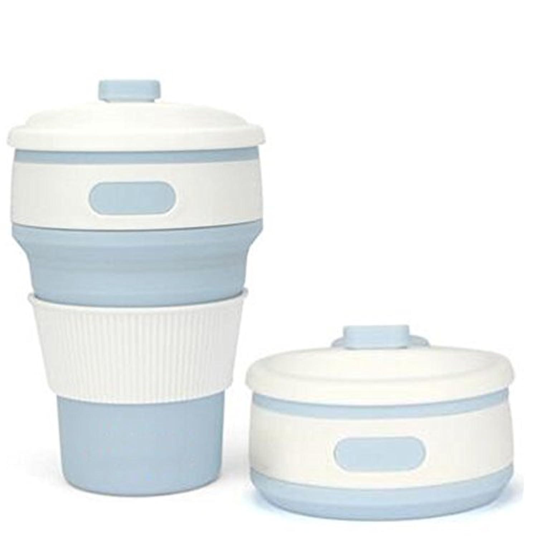 Ruixiang 1pcs折りたたみシリコンコーヒーカップ、折りたたみシリコンカップクリエイティブギフト、再利用可能な折りたたみ旅行カップルーチン、シリコンコーヒーカップキャンプハイキング水ボトル long 5.51inch ブルー