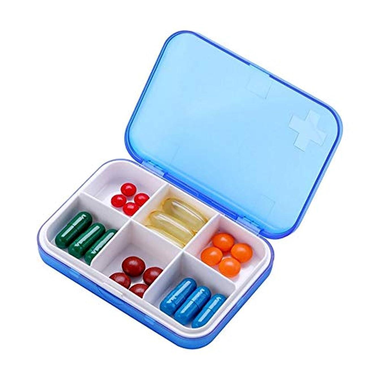 暴露するゴールド優雅な薬ケース 携帯便利 ピルケース サプリメントケース 習慣薬箱 薬入れ コンパクト くすり整理 飲み忘れ防止 常備薬 小物入れ ブルー