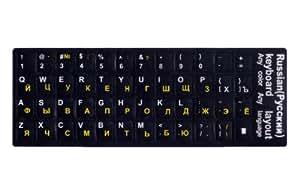 外国語は指で覚えろ ロシア語上達のための必須アイテム ロシア語キーボードシール(黒地) [русская клавиатура наклейки] MLE-KL-RU-B1