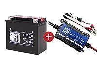 バイクバッテリー充電器+ハーレ用バッテリーSTX20-BS セット■■YTX20-BSに互換
