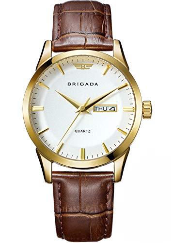 2bad67a6afdc BRIGADA 高級 時計 メンズ ブランド 人気、ブラウン ファッション 上品 腕時計 メンズ ブランド 人気、自分