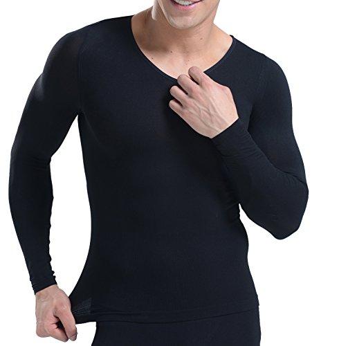 BdeSYT 加压 Vネック インナー スレンダーマッチョ 加圧シャツ 长袖 日本 銀色男性レギンス 姿勢 矯正 インナー (L, ブラック)