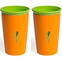 Wow Cup for Kids 360 Spill Free Drinking Cup - 9 Oz - Color: Orange - 2 Count by Wow Gear