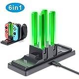 GLCON ジョイコン Joy-Con & Nintendo Switch Proコントローラー 充電スタンド スイッチ コントローラー 充電器 四つのJoy-Conコントローラーと二つのProコントローラーを同時に充電可能 ニンテンドー スイッチ 充電ホルダー switch ジョイコン 充電スタンド チャージャー 充電指示ランプとUSBケーブル付き
