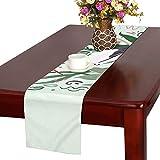 LKCDNG テーブルランナー 素敵な花 かわいい動物 クロス 食卓カバー 麻綿製 欧米 おしゃれ 16 Inch X 72 Inch (40cm X 182cm) キッチン ダイニング ホーム デコレーション モダン リビング 洗える