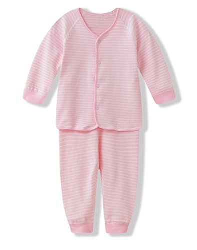 iTimes Baby ベビー服 子ども肌着 綿100% 優れた通気性 前開きセット ストライプ柄 (73cm, ピンク)
