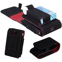 【IQOS アイコス】アイコス専用品 ケース 予備ホルダー収納ポケット付き スエード製 カラー A/ブラック