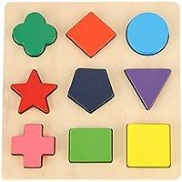 KanCai木製Preschool形状パズルChunky幾何パズル教育ブロック並べ替えゲーム早期開発教育玩具