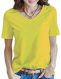 半袖 Tシャツ レディース トップス 無地 カットソー Vネック きれいめ シンプル 薄手 おしゃれ S~XL (黒・白・黄色・グレー・レッド)(アブロンダ)ABRONDA
