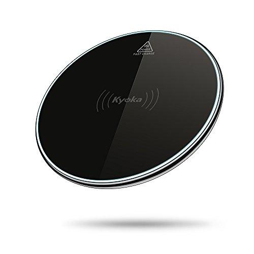 KYOKA Qi ワイヤレス充電器 急速 超薄型 呼吸ランプ付き 亜鉛合金 熱くない 置くだけ充電 iPhone X / 8 / 8 Plus / Galaxy S8 / S8 Plus Android Qi対応機種 (ブラック)