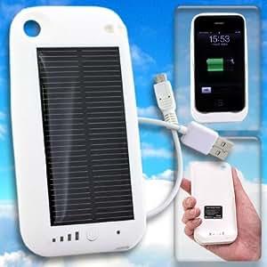 ソーラーハイブリッド充電ケース 大容量 2400mAh バッテリー solar charge jacket-i(ホワイト)【iPhone 3G/3GS 専用】