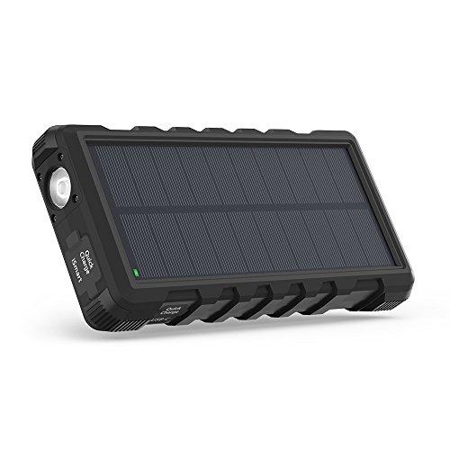 RAVPower ソーラーモバイルバッテリー 25000mAh QC3.0充電対応 MicroUSB+Type-C入力 3ポート付き ソーラーパネル 太陽光充電 ソーラーパワーバンク 【18ヶ月間安心保証】 外付けバッテリーパック 耐衝撃・IP66防水規格 アウトドアポータブル充電器 RP-PB083 (黒)