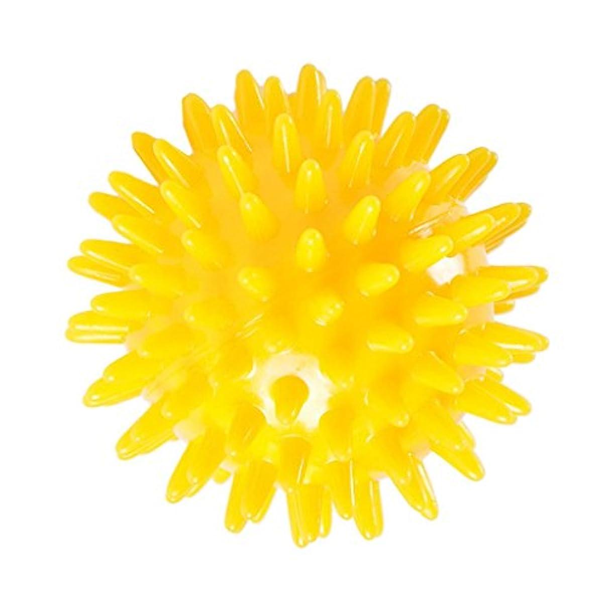 伝統ファンネルウェブスパイダー消化マッサージボール スパイクマッサージボール トリガーポイントリリース ハンドエクササイズ ストレスリリーフ 3サイズ選べる - 黄, 6cm