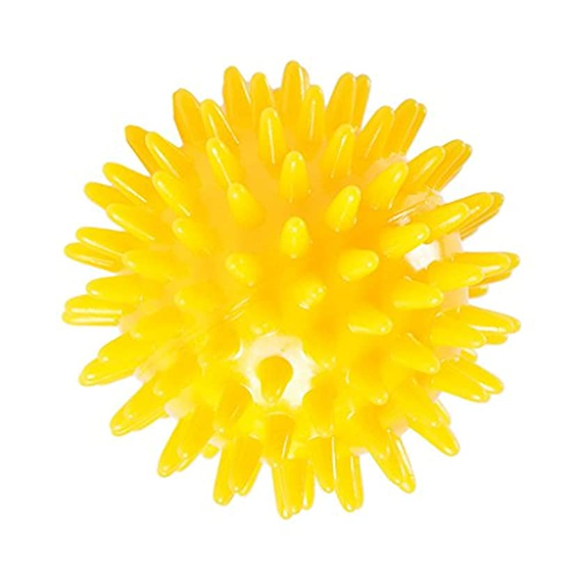 遮る利点熱狂的なマッサージボール スパイクマッサージボール トリガーポイントリリース ハンドエクササイズ ストレスリリーフ 3サイズ選べる - 黄, 6cm