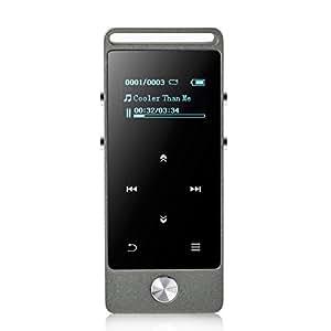 AGPtEK M20 8GB 合金素材 HiFi超高音質 MP3プレーヤー タッチボタン付き ストラップ穴付け マイクロSDカード64GBに対応 グレー