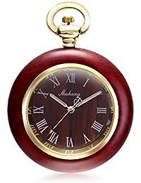 【クロノシア】懐中時計 アンティーク 日本製 ムーブメント 木製 ウッド ネックレス レディース クォーツ (ローマ数字)