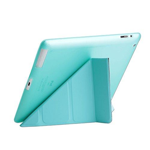 iPad 2/3/4 Folio Case, DIGIC Multi-fold Stand Holder Flip Origami iPad Tablet Protector Cover Leather Carrying Case with Smart Auto Sleep/Wake for Apple iPad 2/3/4,tiffany blue