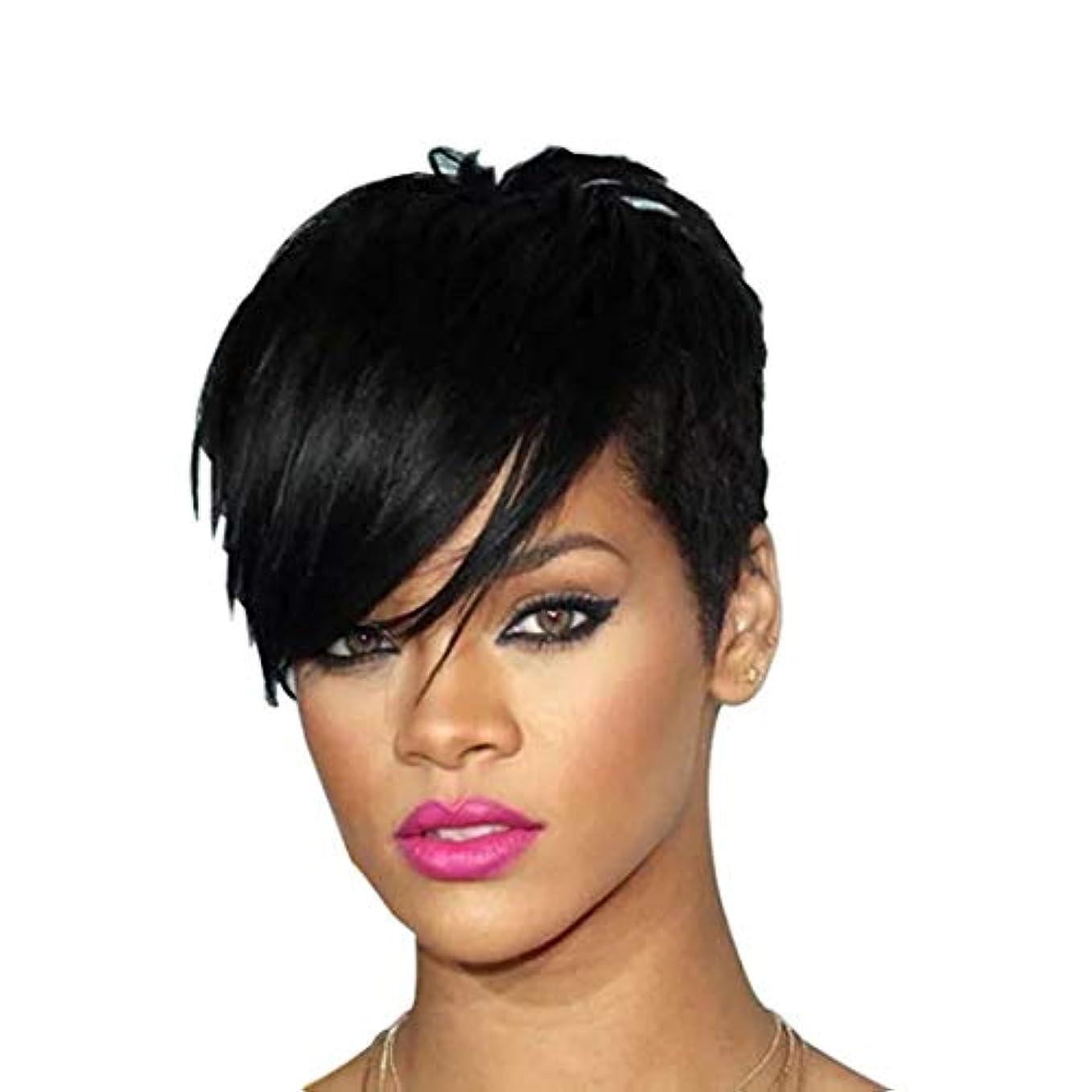 寛解租界またはどちらかKerwinner 女性の斜め前髪高温シルクウィッグヘッドギアで短いストレートヘアウィッグ