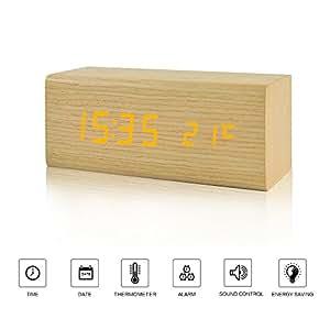 FiBiSonic® 置き時計 おしゃれ LED デジタル 目覚まし時計 木製 多機能 音声感知 温度計 カレンダー アラーム USB給電 プレゼント (15.7*6.5*6.5CM)
