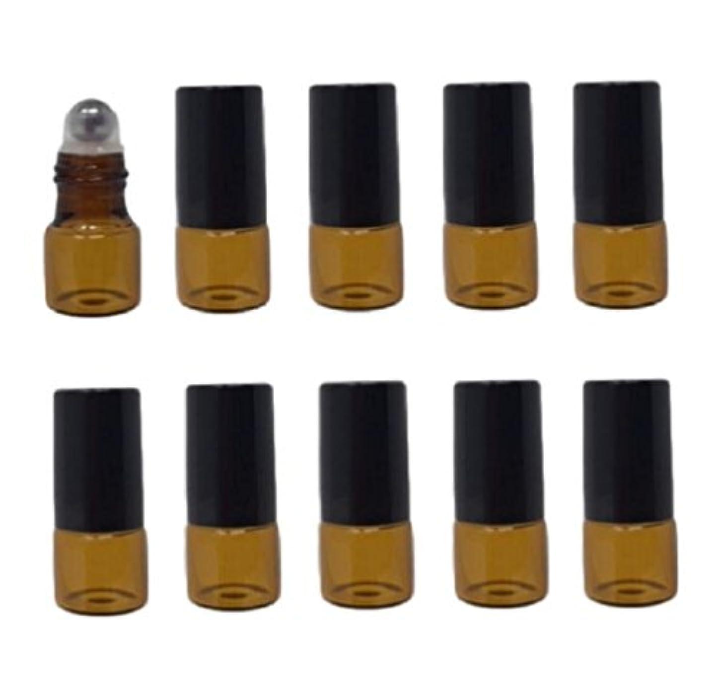 先史時代の有用シート(pkpohs) ロールオンボトル 10本セット 小分け ボトル ガラス 瓶 ロールタイプ ガラスボール アロマオイル 香水 (ブラウン, 2ml)