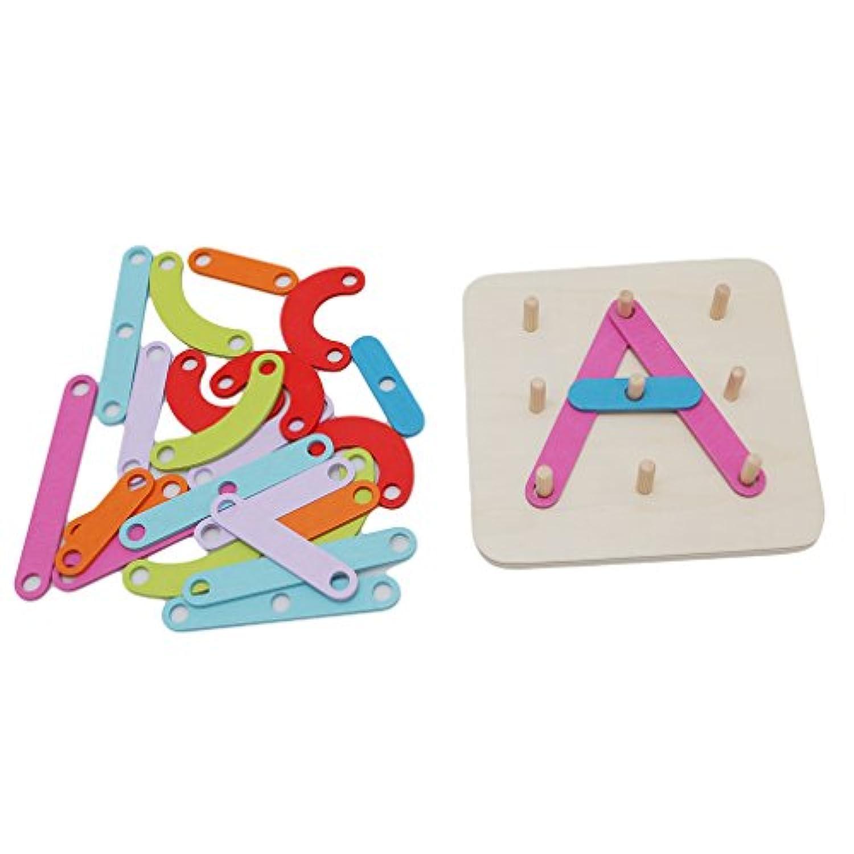 Guangqi木製アクティビティ文字と番号ソーターMontessori Toys for Kids , Preschool初期学習教育Sorting and Stacking Playブロックおもちゃ