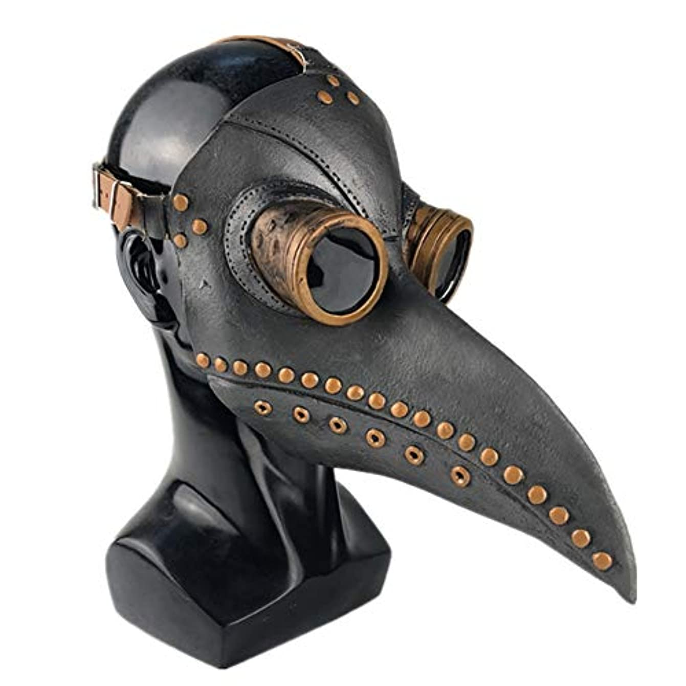 屋内で住居伝導Esolom ハロウィンマスク ペストスチーム喙ドクターマスク ホリデーパーティー用品 黒 銅の爪 ホラーマスク ハロウィンデコレーション 通気性