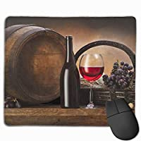 Cheng xiao Mouse Pad Grapes Basket Red Wine Rectangle Rubber Mousepad Non-toxic Print Gaming Mouse Pad with Black Lock Edge,9.8 * 11.8 in,ベーシック マウスパッド ゲーム用 標準サイズ