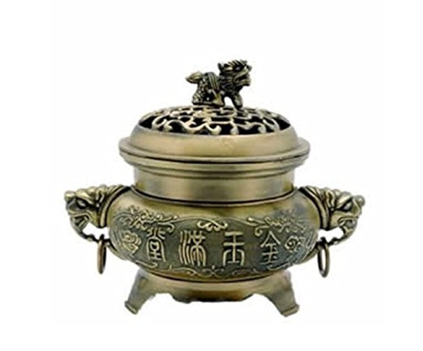 キャップ表面取るに足らない真鍮FU Temple犬Incense Burner