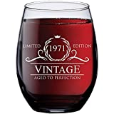 1971 48th Birthday Gifts for Women Men | 15 oz Stemless Wine Glass | 48 Year Old Gift Present Ideas for Mom Dad | Funny Vintage Unique Personalized | Party Anniversary Reunion Decorations Supplies