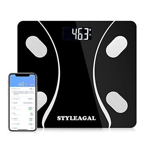 体重・体組成計 、STYLEAGAL 家庭用 体重計・体脂肪計・体組成計 体重/体脂肪率/体水分率/推定骨量/基礎代謝量/内臓脂肪レベル/BMIなど測定可能 自動ON機能 Bluetooth対応 iOS/Androidアプリで健康管理 赤ちゃんモート【12ヶ月保証】【日本語説明書】(ブラック)