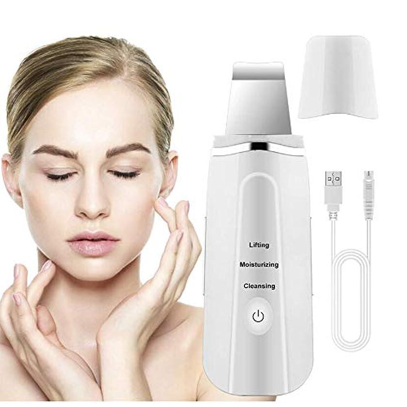 ペイン有効化くすぐったい超音波導入洗顔クレンジング楽器にきび電気にきびメーター剥離シワ除去機フェイシャル美容機器,White