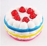 WIFFCOAA おもちゃ スクイーズ 低反発 ストレス解消 やわらか ふわふわ 癒しグッズ 押し出すおもちゃ イチゴ ケーキ アイスクリーム 香り付け かわいい プレゼント ギフト 携帯ストラップ キーリング 子供と大人用 1個 (レインボー ケーキ)