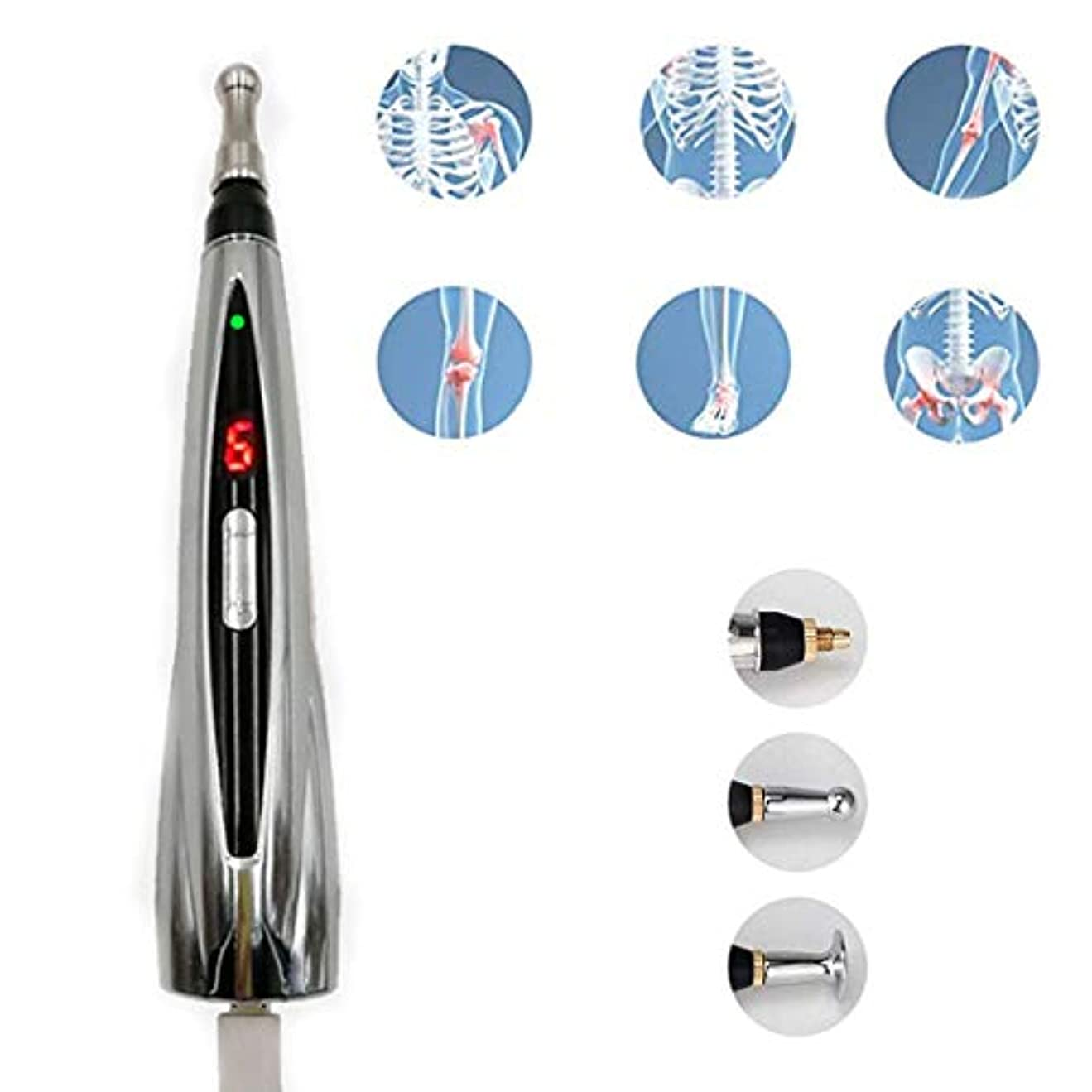 ファン消防士神秘的なレーザーメリディアンペン、ハンドヘルドマッサージペンUsb充電メリディアンペン痛みストレスリリーフ用に調整可能な9種類の力17.5cm * 3cmシルバー