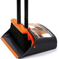 ちりとり ほうき ホーム 美容室 ショップ のほうき チリトリ セット 屋外 室内 ほうき 掃除 清掃用品 長柄タイプ 一体型・自立型タイプ(オレンジ+グレー)