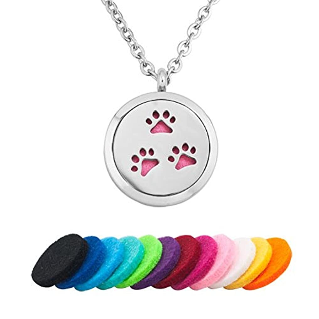 q &ロケットLove犬PawprintステンレススチールプレミアムAromatherapy Essential Oil Diffuserロケットネックレス