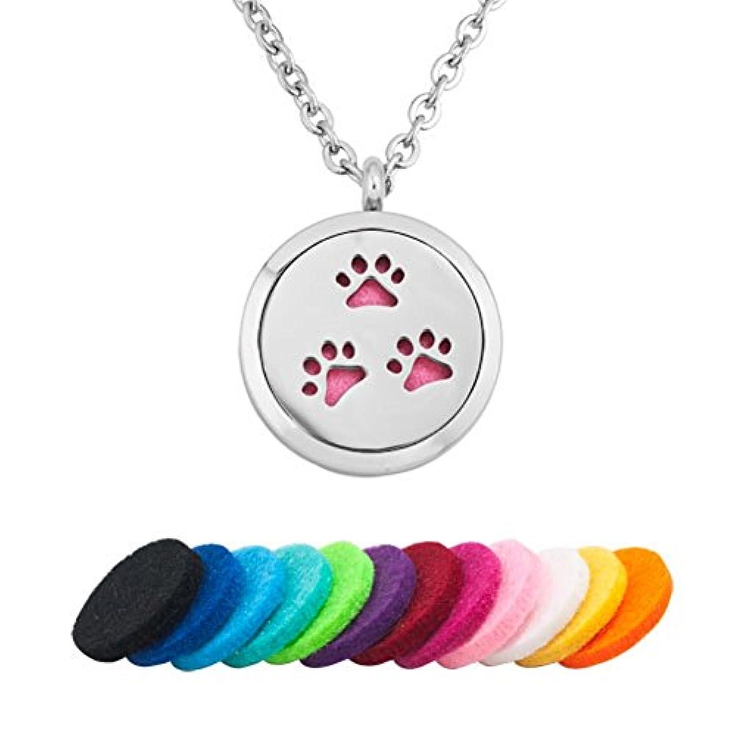 敵対的ほかに不幸q &ロケットLove犬PawprintステンレススチールプレミアムAromatherapy Essential Oil Diffuserロケットネックレス