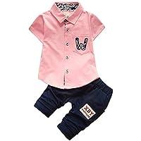 Milkiwai ベビー服 男の子 フォーマル シャツ ロングパンツ 上下セット 半袖 紳士服 宮参り size 70 (ピンク)