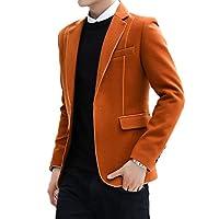 YAXINHE メンズノッチラペルパッチカジュアルウールワンボタンブレザードレススーツ Orange S