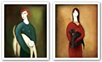 """A Lady and mimi-a Lady and Cocotte Set by Eva Skierska 15.75"""" x19.75""""アートプリントポスター"""