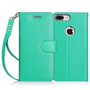 iPhone7 Plus ケース アイフォン7 プラス ケース,Fyy [RFIDブロッキング] [高級本革] ハンドメイド 横開き 手帳型 二つ折り カードホルダー&ストラップ付き スタンド機能 マグネット開閉 保護カバー ミント