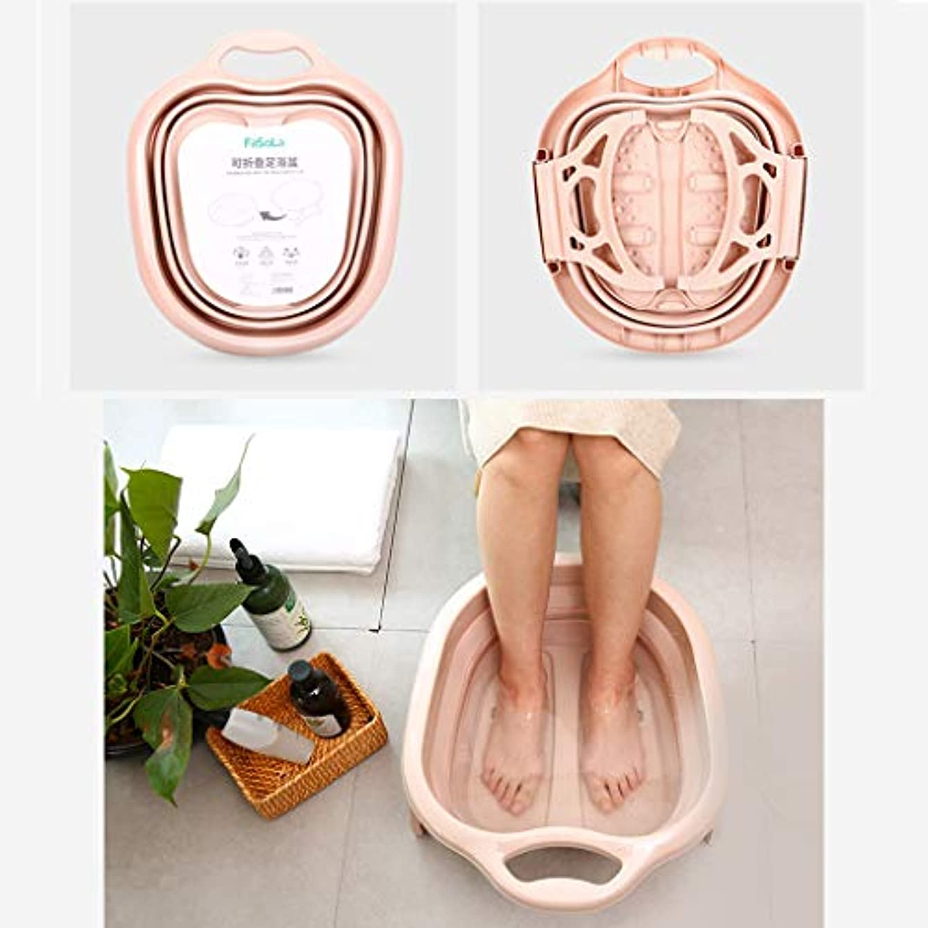 腹部ペンフレンドハウジング折り畳み式フットバスバレルマッサージホームポータブルプラスチックフットウォッシングハイレッグアーティファクト、フット疲労を軽減するためにマッサージホイールで折り畳み可能,ピンク