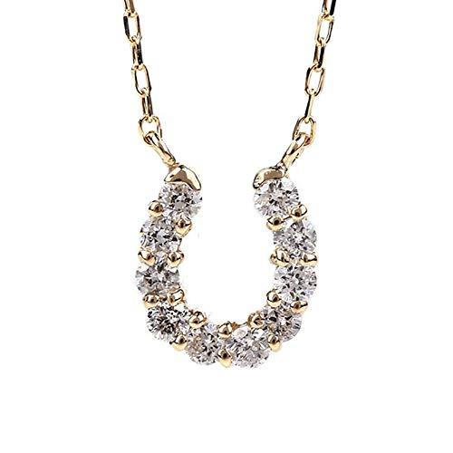 ネックレス レディース ダイヤモンド PLUSTER 馬蹄 (天然ダイヤ 0.1ct) K10 イエローゴールド チェーン 40cm [ギフトボックスセット]