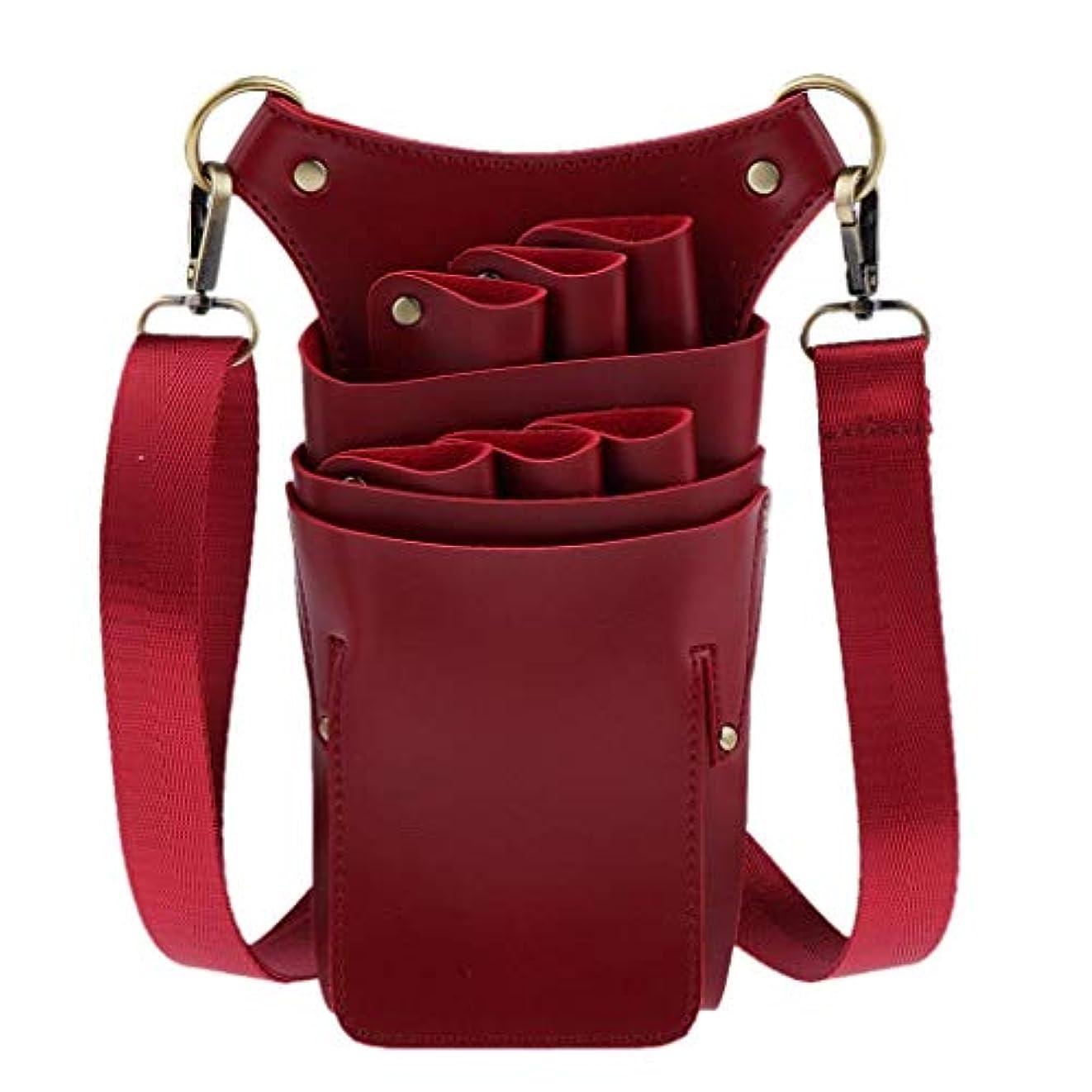 割合タンクコンクリートYWAWJ 美容のためのPUレザーはさみホルスター、サロンヘアースタイリスト理容はさみせん断理髪ホルダーポーチケース (Color : Red)