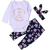 3Pcs Baby Boys Girls Letter Romper Top+Floral Pants+Headband Outfit Set Pajamas Party Gift by EISHOW (0-3 Months, White b)