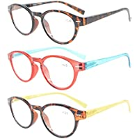Eyekepper Womens Reading Glasses 3 Pack With comfort Spring Arms Classic Stylish Round Look-Crystal Clear Vision +2.5