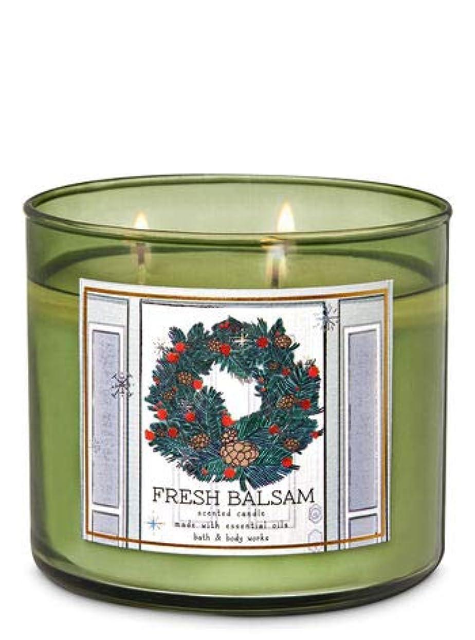 ハンカチ定期的に振りかける【Bath&Body Works/バス&ボディワークス】 アロマキャンドル フレッシュバルサム 3-Wick Scented Candle Fresh Balsam 14.5oz/411g [並行輸入品]