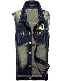maweisong メンズ快適でスタイリッシュなノースリーブのよいデニムジャケット?ベスト
