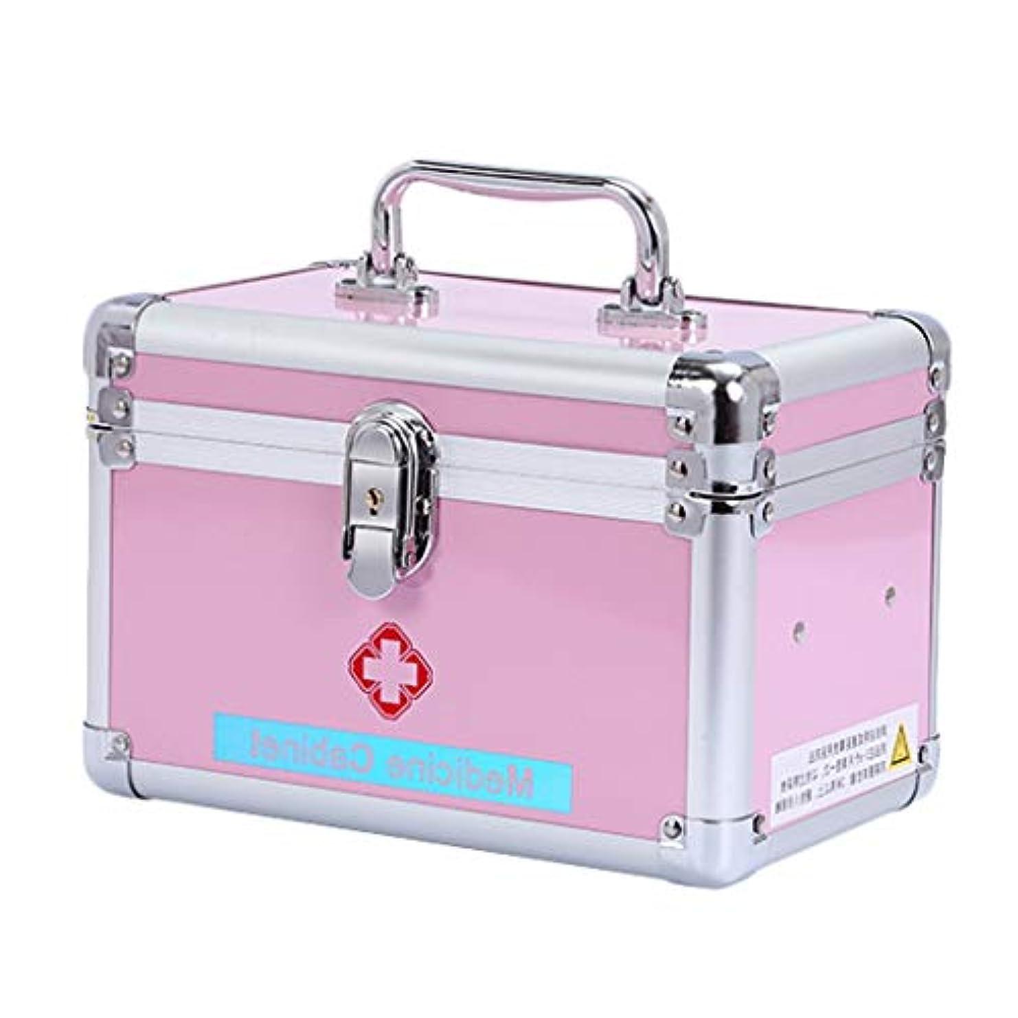 見通し彼女のアイロニーTLMYDD ピルボックスアルミ家庭用薬ボックス薬クリニック緊急医療ボックス収納ボックス24.5×W 14×H 16 CM 応急処置キット (Color : Pink, Size : L24.5*W14*H16CM)
