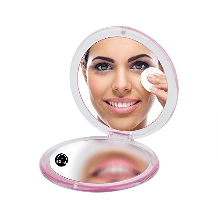 告白求人見出し円形の両面の手鏡、5倍は&平面鏡を大きくして身につけて化粧する鏡を携帯して鏡を携えます(ピンク)