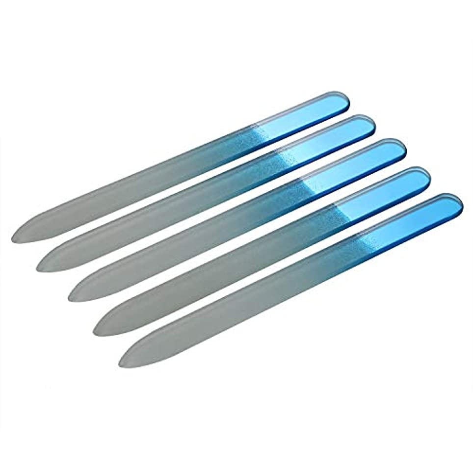 スカート可能後方JewelryWe 爪やすり 爪磨き ネイルヤスリ ガラス製 両面タイプ 5本セット ブルー